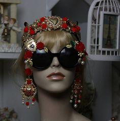 SOLD! 913  Sacred Heart Red Rose Designer Inspired Baroque Embellished Fancy Shades Sunglasses Eye Wear