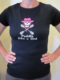Kayak Skull Paddle Like A Girl Ladies Cap by StickersByDesign, $13.99