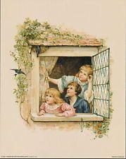 Vintage 8x10 Print Victorian Children watch Nesting House Martins Window Frame