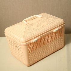 Cestinello cestino da asilo porta merenda in plastica vintage anni 60