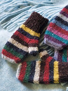 Aran and Nordic Knits for Kids by Martin Storey, McA direct Knitted Mittens Pattern, Knit Mittens, Knitted Gloves, Knitting Patterns, Knitting For Kids, Knitting Yarn, Hand Knitting, Striped Mittens, Rowan Felted Tweed
