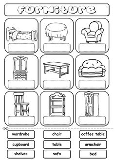 Furniture (drag and drop) Language: English Grade/level: elementary School subject: English as a Second Language (ESL) Main content: Furniture Other contents: furniture, house, home English Primary School, Learning English For Kids, English Lessons For Kids, English Worksheets For Kids, English Resources, Kids English, School Worksheets, Teaching English, Learn English
