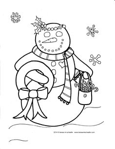 Day 16 #ChristmasColoringCountdown  A smiling snowlady brings candy canes and a wreath for Santa. www.teresamischaefer.com