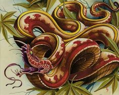 Original acrylic painting done by Nathaniel Gann at Remington Tattoo in San Diego, CA. Printed on: Cold Press Rough Textured Natural White IFA 13 Innova rough-t Tattoo Flash Sheet, Tattoo Flash Art, Japanese Snake Tattoo, Snake Drawing, Asian Tattoos, Oriental Tattoo, Tattoo Illustration, Print Artist, Tattoo Sketches