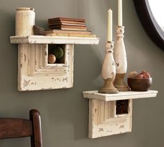 A ledge shelf with a half picture frame or framed molding should give this same look as pottery barn without the fortune spent