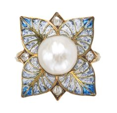 A diamond, pearl, gold and silver Plique-à-Jour enamel ring by George Fouquet (c.1900)