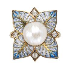 A diamond, pearl, gold and silver Plique-à-Jour enamel ring by George Fouquet (c.1900)