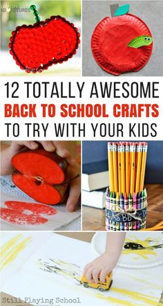 12 Totally Awesome Back to School Crafts to Try with Your Kids. Encourage your children to be excited for the return of the school year, and stay active and busy during the end of the summer season. These 12 crafts will help your kids stay active and busy during the summer months. A great way to stay entertained and busy as school gets started up this fall. Easy crafts for kids  #SummerSeason #BackToSchool #KidActivities