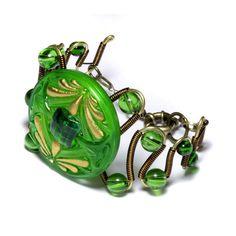 Steampunk Neo Victorian Jewelry - Bracelet  - Czech Glass 2-DRAGONFLY Art Nouveau Green Gold Button