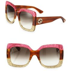 Gucci 55MM Oversized Square Colorblock Sunglasses (€510) ❤ liked on Polyvore featuring accessories, eyewear, sunglasses, fuchsia, square glasses, uv protection sunglasses, square lens sunglasses, over sized sunglasses and gucci sunglasses