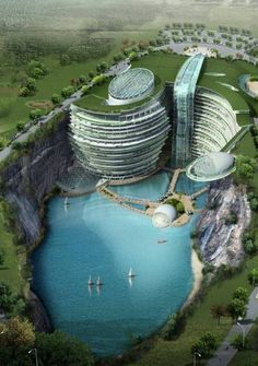 Songjiang Hotel, Songjiang, Shanghai, China - the 19-story hotel complex will feature a huge waterfall pouring down from its roof and two of its first floors will be submerged in the water.