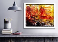 TITLE: CAVE This image in 100 per cent is painted by hand, mixed media, painted  on the high quality, chalk overlay paper. Red, black and yellow colour are harmonizing with themselves. Very expressive painting. Framed image in white, wooden frame.   The image contains the signature and the authenticity certificate.  Size of the painting image 13,58 x 10.83 inches 34,5 x 27,5 cm