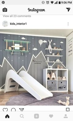 Mountain mural concept_Love the mountain edge concept with two colors - Kinderzimmer - Baby Bedroom, Baby Boy Rooms, Baby Room Decor, Nursery Decor, Nursery Ideas, Minimalist Kids, Kids Bedroom Furniture, Furniture Nyc, White Furniture