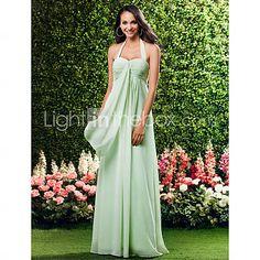 [USD $ 99.99] Sheath/ Column Halter Floor-Length Chiffon Over Mading Bridesmaid/ Wedding Party Dress