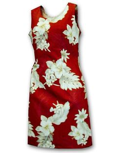 bb6949de326e Pacific Legend Hibiscus Red Cotton Hawaiian Tank Short Dress | AlohaOutlet