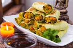 Samosa Rolls ❤ Vegan - great for guests and to bring for a potluck