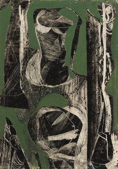 Peter Lanyon (British, Fossil, Offset drawing with oil on paper, x 36 cm. via inland-delta Art And Illustration, Action Painting, Painting & Drawing, Abstract Expressionism, Abstract Art, A Level Art, Gravure, Contemporary Paintings, Art Techniques