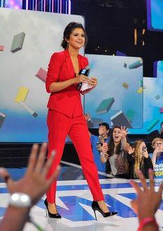 Selena Gomez wearing Emporio Armani Women Double Breasted Jacket Emporio Armani Crepe Cigarette Pants Melinda Maria Diana Earrings Nissa Jewelry Jana Ring set