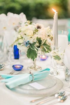 Pair Tiffany Blue with white and silver for an elegant look | Tiffany Blue Wedding Ideas