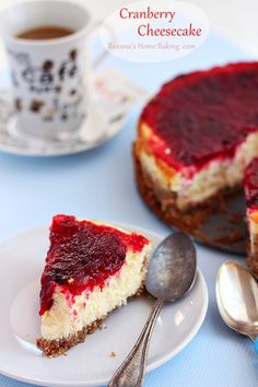 Cranberry Cheesecake --- I think I want to try this, but using a traditional cheesecake recipe with the cranberry topping.