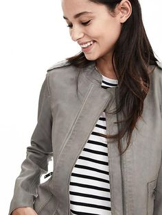 Gray Leather Moto Jacket Product Image