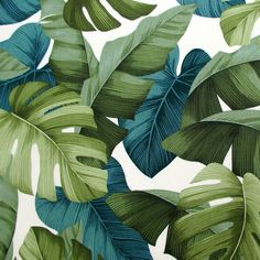 Fabric Green Hawaiian Leaves Tropical von BluePacificFabrics