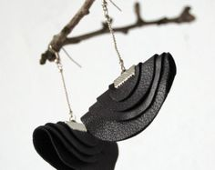 Snow drop handmade earrings from leather/ by missismiss on Etsy
