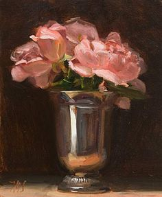 "Roses in Silver Goblet 13cm x 16cm (""5""x6½""), oil on gessoed card Daily painting for Monday 28 September, 2009"
