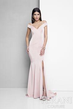 Terani Evening - Off Shoulder Beaded Strap Evening Dress  1713E3338 in Pink
