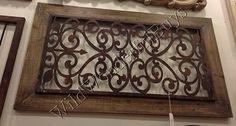 """Scrolling Metal Wall Sculpture Brown 46"""" Rectangle Panel Decor Art Garden Gate"""