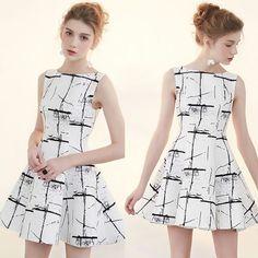 Cute White and Black Graphic Sleeveless Boho Chic Party Dress Women SKU-401259