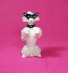 MID CENTURY POODLE Figurine 1950s White French Poodle Dog Figurine Spaghetti Porcelain Cats Eye Glasses Vintage Kitsch Poodle Knick Knack