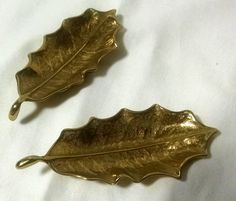 Virginia Metalcrafters Cast Lacqured Solid Brass Pair of  Holly Leaves by StoneArborTreasures on Etsy