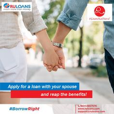 Can I jointly apply for a loan with my spouse? It is a great idea! It can increase your eligibility for a higher loan amount without any ‪#‎LoanKaDard‬. Just ensure that the property is jointly held by you or your spouse is a guarantor.