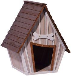 dobar 55013FSC Hundehütte ,isoliertes XL Outdoor Hundehaus für große Hunde , Platz für ein Hundebett , Hundehöhle mit Spitzdach , 90x77x109 cm , 14kg Holzhütte , entfernbarer Boden | Farbe: braun/grau