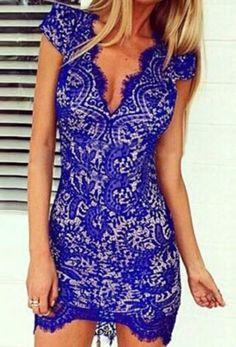 Blue Cut Out V-Neck Lace Bodycon Dress