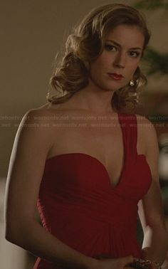 Emily's red one-shouldered gown on Revenge.  Outfit Details: http://wornontv.net/29607/ #Revenge #fashion #woman