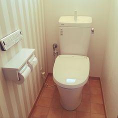 Bathroom/アクセントクロス/ストライプ/テラコッタのインテリア実例 - 2018-08-30 08:54:33 | RoomClip (ルームクリップ)