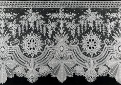 "Belgium, Border Belgium Border, Cotton, needle lace of a type known as ""Point de Gaze"" x cm x 30 in.) Width repeat: cm in. Needle Lace, Bobbin Lace, Antique Lace, Vintage Lace, Lace Design, Pattern Design, Types Of Lace, Lacemaking, Crochet Cross"
