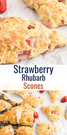 Fresh Fruit Desserts, Fresh Fruit Cake, Rhubarb Desserts, Rhubarb Recipes, Köstliche Desserts, Best Dessert Recipes, Delicious Desserts, Rhubarb Scones, Fruit Scones