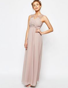 Little+Mistress+Embellished+Shoulder+and+Drape+Front+Maxi+Dress