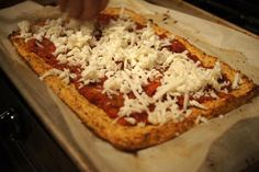 Cauliflower Pizza Crust- secret is to wring out the cauliflower, can also add different types of cheeses or sub cheese w almond flour.