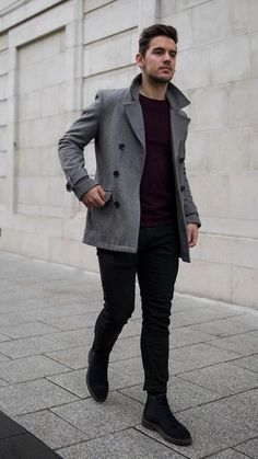Man dressing style - Monochrome Dressing Style For Men 5 Outfits To Try Hoodie Outfit, Peacoat Outfit, Mens Peacoat, Black Chelsea Boots Outfit, Suede Chelsea Boots, Winter Stil, Ootd Winter, Mens Winter, Winter Coat