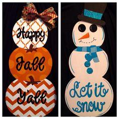 Reversible Stacked Pumpkin and Snowman Door Hanger, Pumpkin Door Hanger, Fall…