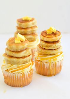 The moonblush Baker: Selective everything/-/ Maple pecan cupcakes with tiny buttermilk pancakes.