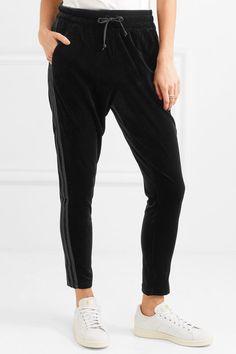 Black stretch-velvet and grosgrain Pull on 91% polyester, 9% elastane Machine wash Imported