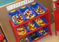 Kindergarten-math-tools This reminds me of my very first Kindergarten classroom. Someone had thrown out just about everything and I was given generous freedom to restock the room -- manipulatives, books, multicultural dolls, the works!!! That was fun!