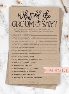 b7d7b498c108 What Did the Groom Say About His Bride . Printable Fun Bridal Shower Game .  Rustic Kraft PLUS Black and White . Instant Digital Download