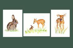 Deer and Rabbit Nursery Set 3 8 X 10 prints by Marysflowergarden