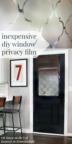DIY Privacy Window with Contact Paper - free template! 7th House on the Left on @Remodelaholic #AllThingsWindows #privacy